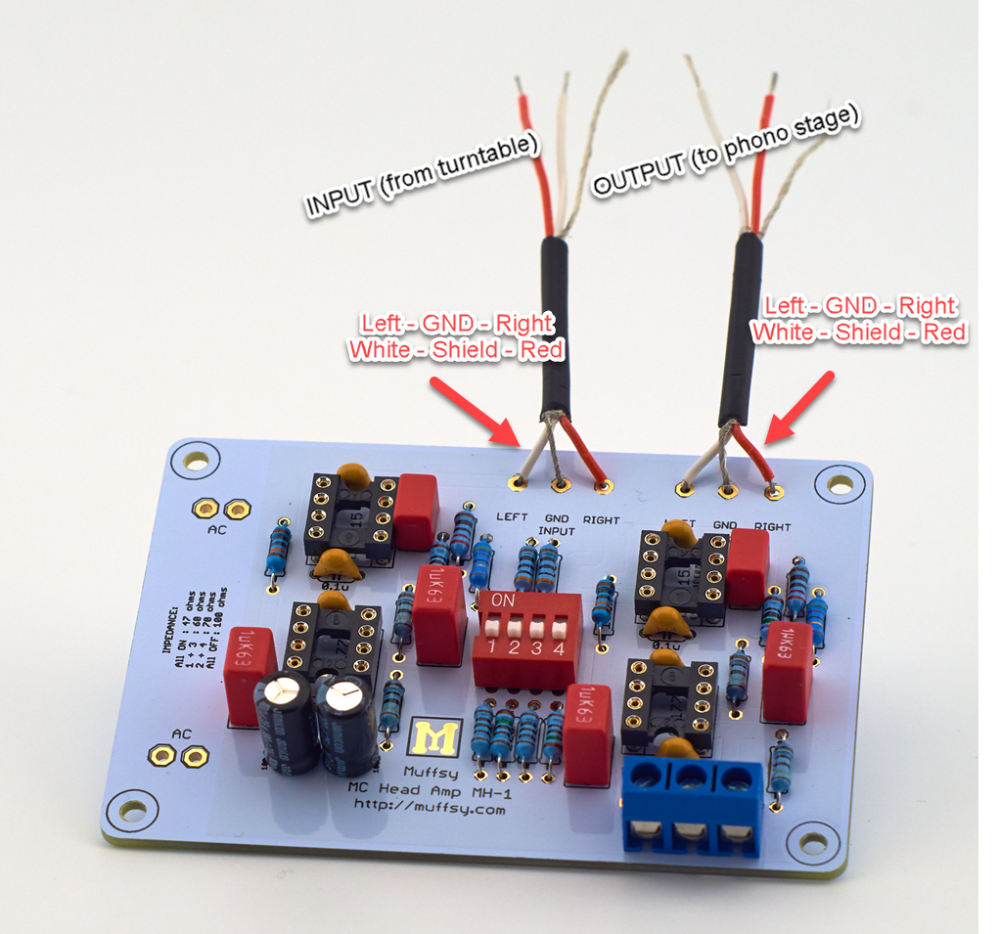 Muffsy Phono Kits Build The Mc Head Amp Preamplifier Input From Moving Coil Cut One Piece Of Black Wire To About 2 25 Cm Two Pieces Red And Blue Strip 05 On Each End Tin Both Ends Cable